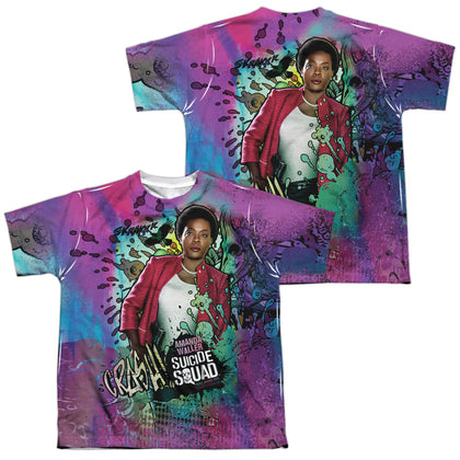 Suicide Squad Movie Waller Psychedelic Cartoon (Front/Back Print) Youth Regular Fit Poly SS T