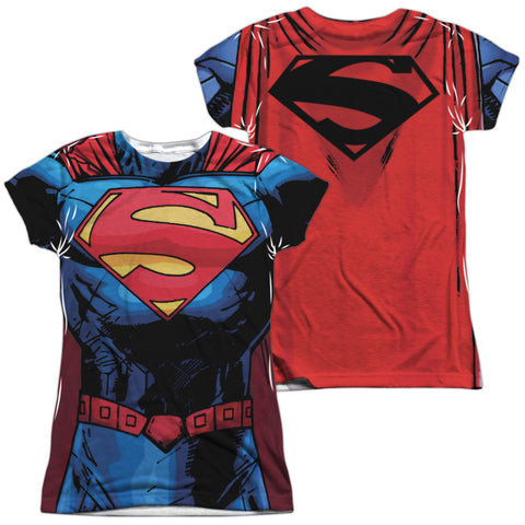 Superman Comics New 52 Superman (Front/Back Print) Junior's Poly Cap-Sleeve T