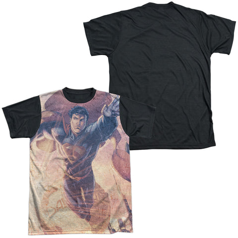 Superman Comics Soar Above Men's Black Back Regular Fit Poly SS T