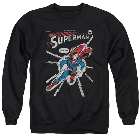 Superman Cover Me Men's Crewneck 50 50 Poly LS T