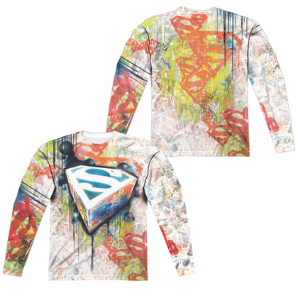 Superman Urban Shields (Front/Back Print) Men's Regular Fit Polyester LS T
