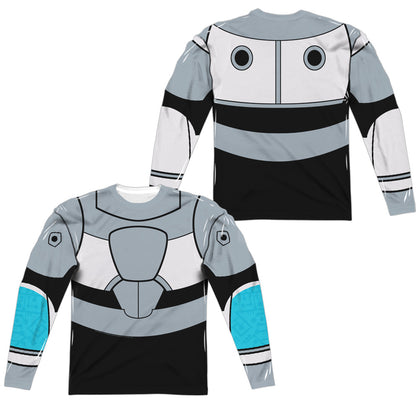 Teen Titans Go Cyborg Uniform (Front/Back Print) Men's Regular Fit Polyester LS T