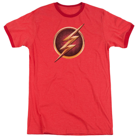 The Flash Chest Logo Men's 30/1 Heather Ringer 50 50 Poly SS T