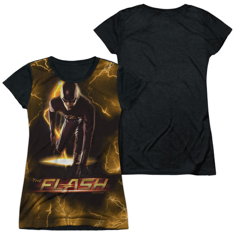 The Flash Comics Bolt Junior's Black Back Poly Cap-Sleeve T