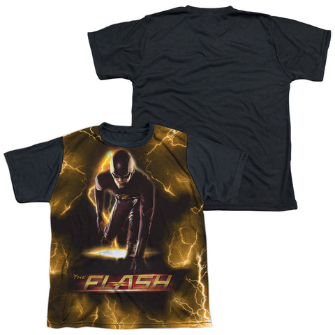 The Flash Comics Bolt Youth Black Back Poly Regular Fit SS T