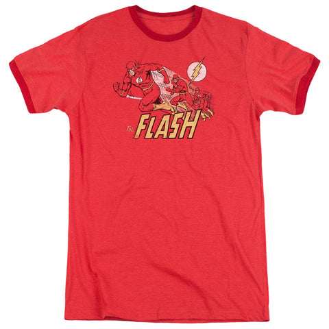 The Flash Crimson Comet Men's 30/1 Heather Ringer 50 50 Poly SS T