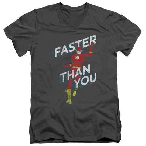 The Flash Faster Than You Men's 30/1 Cotton Slim V-Neck T
