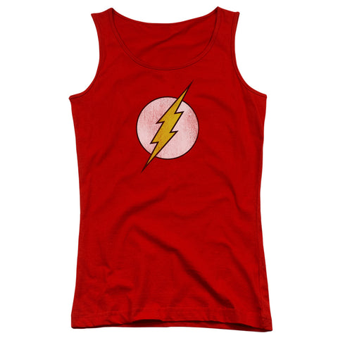 The Flash Flash Logo Distressed Junior's 100% Cotton Tank Top