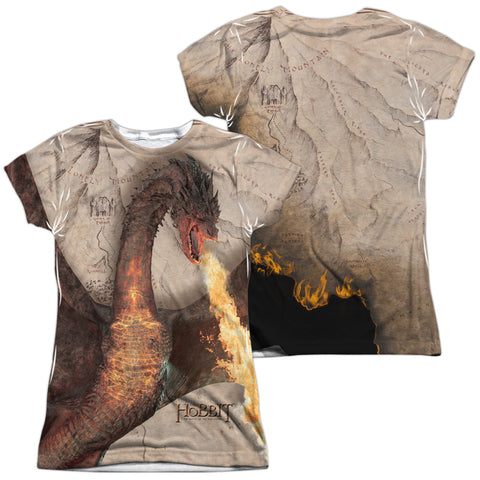 The Hobbit Smaug Attack (Front/Back) Junior's Poly Cap-Sleeve T