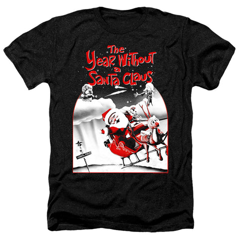 The Year Without A Santa Claus Santa Poster Men's 30/1 Heather 60 40 Poly SS T