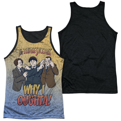 Three Stooges Why I Oughta Men's Black Back Poly Regular Fit Tank Top