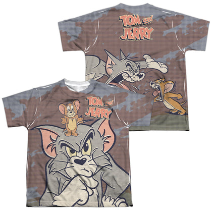 Tom And Jerry Up To No Good (Front/Back Print) Youth Regular Fit Poly SS T