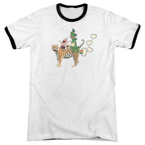 Uncle Grandpa Fart Hearts Men's 30/1 Heather Ringer 50 50 Poly SS T