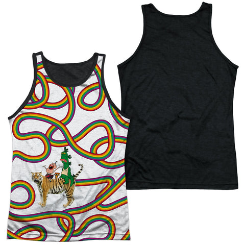 Uncle Grandpa Rainbows Men's Black Back Poly Regular Fit Tank Top