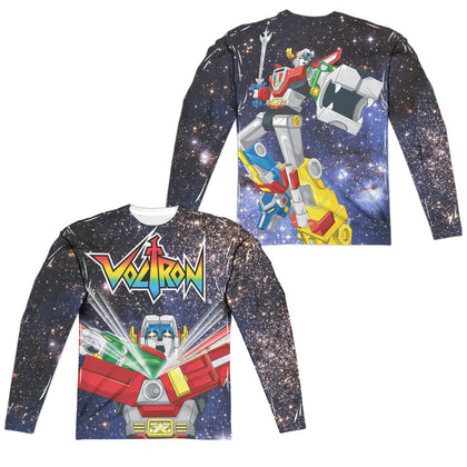 Voltron Space Defender (Front/Back Print) Men's Regular Fit Polyester LS T
