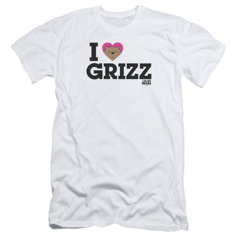 We Bare Bears Heart Grizz Men's 30/1 Cotton Slim SS T