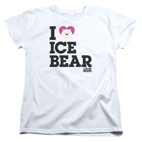 We Bare Bears Heart Ice Bear Women's 18/1 Cotton SS T