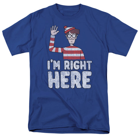Where's Waldo Im Right Here Men's 18/1 Cotton SS T