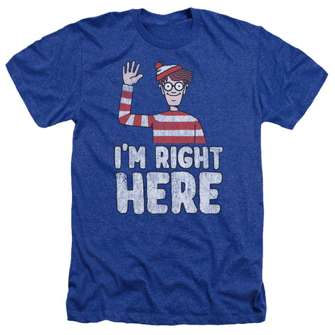 Where's Waldo Im Right Here Men's 30/1 Heather 60 40 Poly SS T