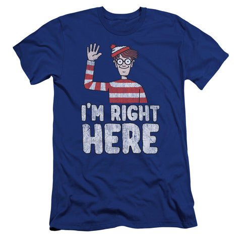 Where's Waldo Im Right Here Men's Ultra-Soft 30/1 Cotton Slim SS T
