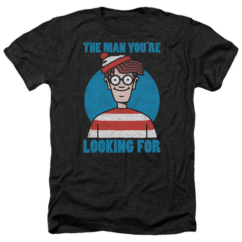 Where's Waldo Looking For Me Men's 30/1 Heather 60 40 Poly SS T
