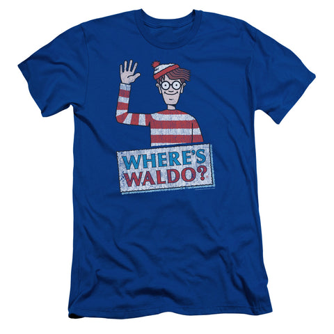 Where's Waldo Waldo Wave Men's 30/1 Cotton Slim SS T