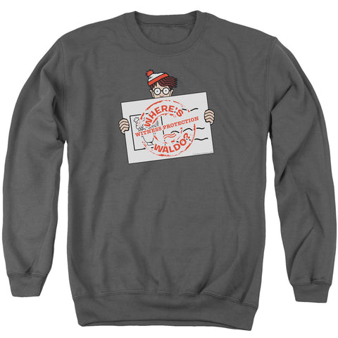 Where's Waldo Witness Protection Men's Crewneck 50 50 Poly LS T