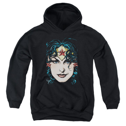 Wonder Woman Head Youth Cotton Poly Pull-Over Hoodie