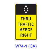 (HOV) THRU TRAFFIC MERGE LEFT (RIGHT) W74-1(CA)