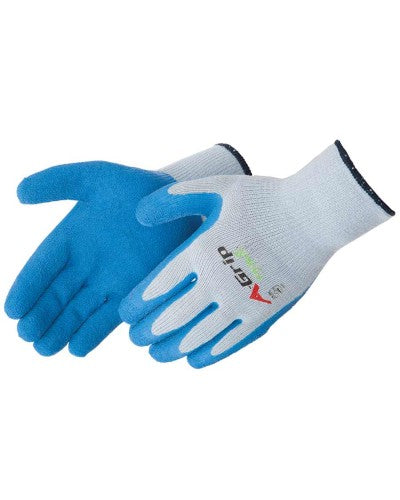 GLOVE BLUE LATEX PALM GREY LG
