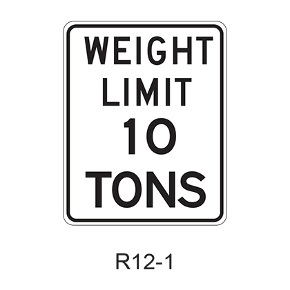 WEIGHT LIMIT XX TONS R12-1
