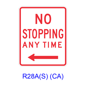 NO STOPPING ANY TIME w/ arrow R28A(S)CA
