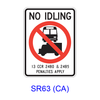 NO IDLING All Buses and Commercial Vehicles [symbol] SR63(CA)