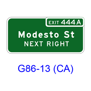 Exit Numbered Supplemental Destination (NEXT RIGHT(LEFT)) G86-13(CA)