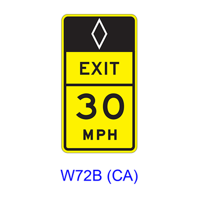 (HOV)Advisory Exit(Ramp) Speed W72B(CA)