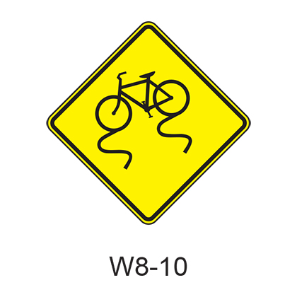 Bicycle Surface Condition Warning W8-10