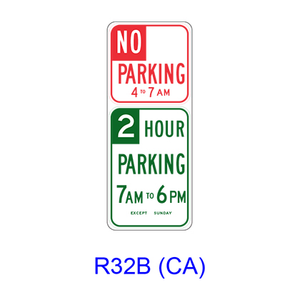 The No Parking/Parking Specific Hours R32B(CA)