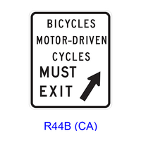 BICYCLES MOTOR-DRIVEN CYCLES MUST EXIT R44B(CA)