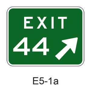 Numbered Exit Gore w/ arrow E5-1a