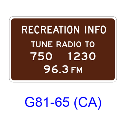 Radio-Recreation Information G81-65(CA)