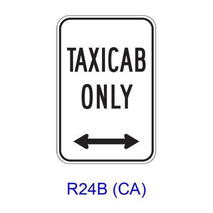 TAXI CAB ONLY w/ Double Arrow R24B(CA)