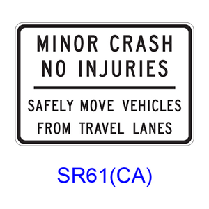 MINOR CRASH NO INJURIES ? SAFELY MOVE VEHICLES FROM TRAVEL LANES SR61(CA)