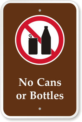 No Bottles or Cans [symbol] PS-101(CA)