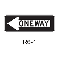 ONE WAY [white arrow w/ black legend & bkgrnd] R6-1