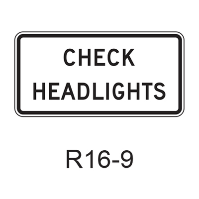CHECK HEADLIGHTS  R16-9