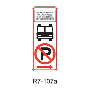 NO PARKING BUS STOP [symbol] R7-107a