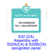 Adopt-A-Highway Recognition Panel S32B(CA)