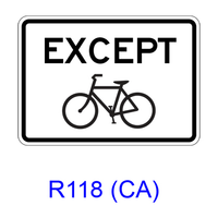 EXCEPT Bicycle [plaque/symbol] R118(CA)