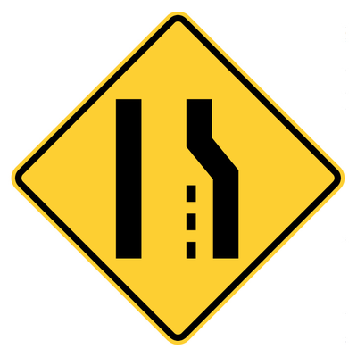 RIGHT LANE ENDS 48