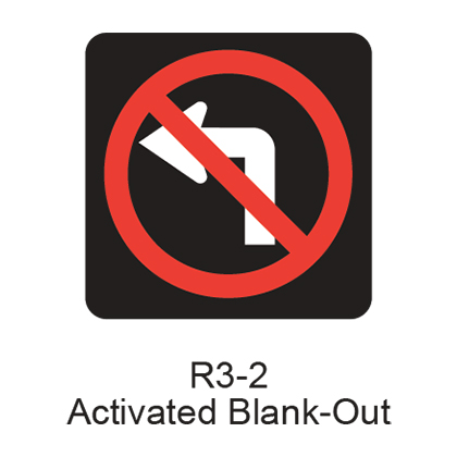 R3 2 Sign >> No Left Turn Activated Blank Out Symbol R3 2abo Bc